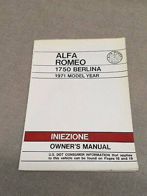 Vintage Alfa Romeo 1750 Berlina 1971 Model Year Iniezione Owner's Manual