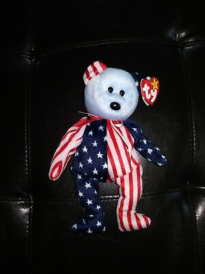 Ty 1999 SPANGLE BEANIE BABIES Blue Face Bear with Error on Tag RARE AUTHENTIC