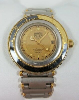 Vintage Heuer Executive Professional Gold Dial Two Tone Ladies Watch 915.408