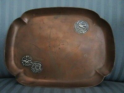 GORHAM MIXED Metals 1883 TRAY Copper APPLIED Sterling Silver AESTHETIC Bird IRIS