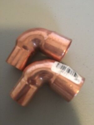 "Nibco 1"" x 3/4"" Copper ElbowSweat Solder Pressure 1-1/8 & 7/8"" Tube New Lot Of 2"