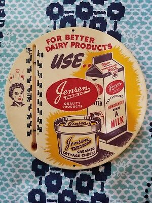 Vintage Plastic Advertising Thermometer Jensen Foods Dairy USA
