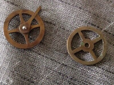 Clock Wheel Pulley Two Vienna Style Clockmakers Spare Parts 30mm 28mm Dia.