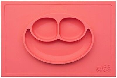 EZPZ Happy Mat - One-Piece Silicone Suction Placemat + Plate in One - Coral