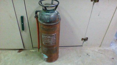 "ANTIQUE  BRASS  COPPER  FIRE EXTINGUISHER 24"" tall.  NO RESERVE"