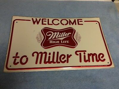 "Vtg.1978 Miller High Life Welcome To Miller Time embossed tin beer sign 16""x10"""
