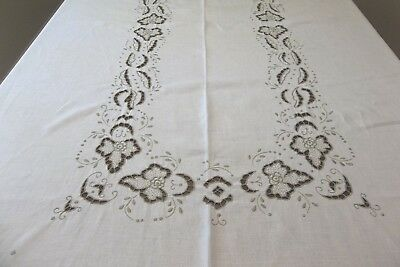 "Vintage Ivory Linen Embroidered Cutwork Tablecloth, 66""x102"""