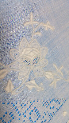 4 White Sheer Linen Flower Embroidery Drawn Combo Luncheon Tea Napkins FRESH
