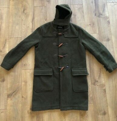 Barbour Wool Cashmere Duffle Coat Green Size M Trench Coat Plaid Lining