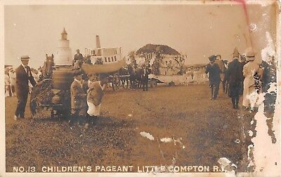 c.1910 RPPC Childrens Pageant Little Compton RI Lighthouse & Fishing Boat Floats