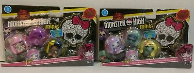 Monster High Minis 3 Pack with Exclusive Figure Lot of 2 NIP