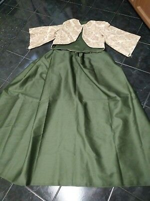 Civil war Old West Dickens Victorian dress Zouave in Tan and Olive 3pc set