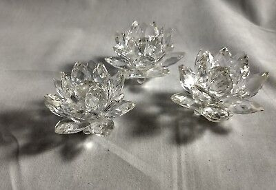 Swarovski Crystal Lotus Water Lilly Candle Holder 3 Pieces
