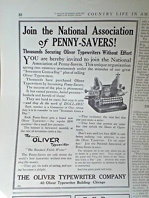 1910 OLIVER TYPEWRITER ad Country Life In America May 1910 FREE Postage USA