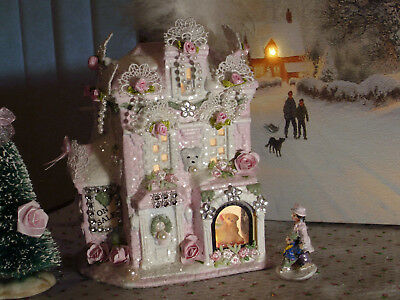 3 Pc Shabby Chic Pink Victorian Christmas Village Toy Store/tree/pearls/lights