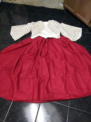 Civil war Old West Dickens Victorian dress Zouave in Red Rose and Ivory 3pc set