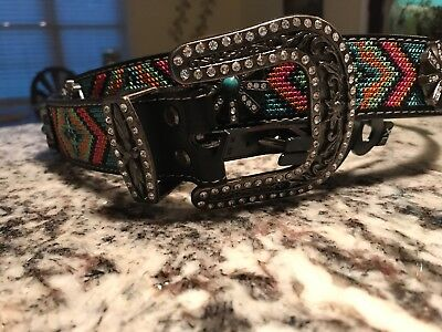 WOMEN Blazin Roxx WESTERN belt Beaded RHINESTONE Spur Rowel Turquoise Center XLa