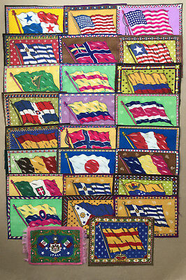 """Tobacco Premium 26 Country Flags Felts,8.25""""x5.5"""", Ca. 1910-1920,doll House Rugs"""