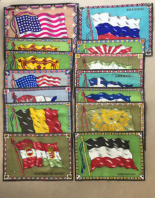 """Tobacco Premium 14 Lg.country Flags Felts,11""""to 12"""" Wide,ca.1910-1920,doll House"""