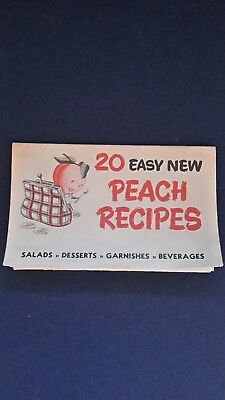 Vintage 20 Easy Peach Recipes Foldout Booklet - Nice