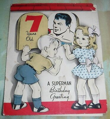 Superman 1940s 7 year old Birthday Card Birthday Greeting Fun and Cheers