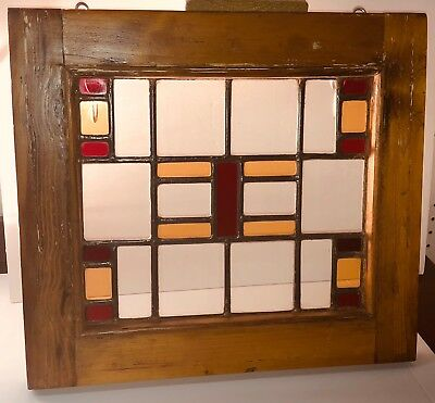 "ANTIQUE VICTORIAN QUEEN ANN OR MISSION STYLE STAINED GLASS SASH WINDOW 18"" x 15"""