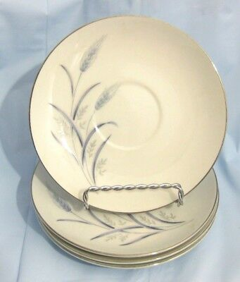 """4 pcs HARVEST by FINE CHINA of JAPAN """"BLUE WHEAT"""" SAUCERS 5-3/4"""""""