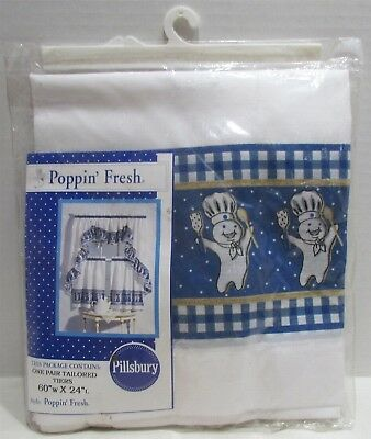 "1998 PILLSBURY POPPIN' FRESH ONE PAIR TAILORED TIERS 60"" x 24"" Curtains New Blue"