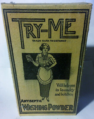 Rare Vintage 1900's TRY-ME Antiseptic Washing Powder Full Unopened Box