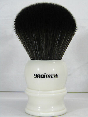 Yaqi 30mm Knot White Handle Black Synthetic Hair Shave Brush R1729S2-30