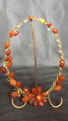 Antique Victorian AMBER BEADED PICTURE FRAME Oval w/ Beads to Replace