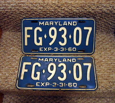 Pair of 1960 Maryland license plates