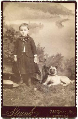 Child & Pug Dog 1880s Reading PA Pennsylvania Cabinet Card Photo by Strunk