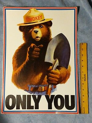 "Vintage (!985?) Smokey Bear Poster.  ""ONLY YOU""  CLASSIC POSTER ."