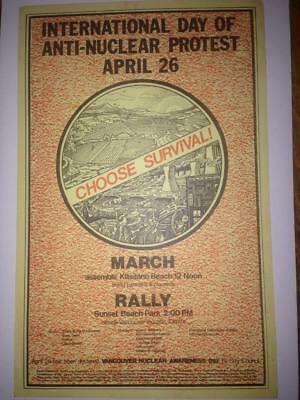vtg org Intl Day of Anti-Nuclear Protest Vancouver '85? 11x17 flyer poster punk