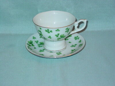 Lefton China Shamrock Musical Tea Cup And Saucer