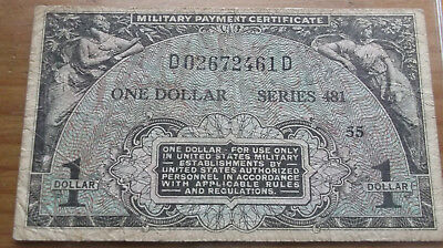 1 DOLLAR MILITARY PAYMENT CERT. KOREA'S WAR ERA IN GOOD COND. see pictures