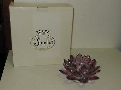 % Mib Sorelle Crystal Purple Amethyst Lotus Flower Candle Holder A1 %