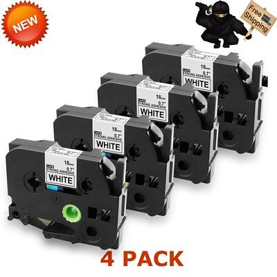 4PK For Brother P-Touch PT-D600 TZe-241 TZ-241 Label tape Black on White 18mm