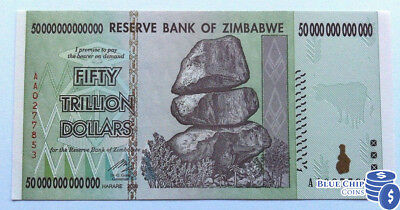 2008 Unc 50 Trillion Dollar Reserve Bank Of Zimbabwe Currency Banknote Aa
