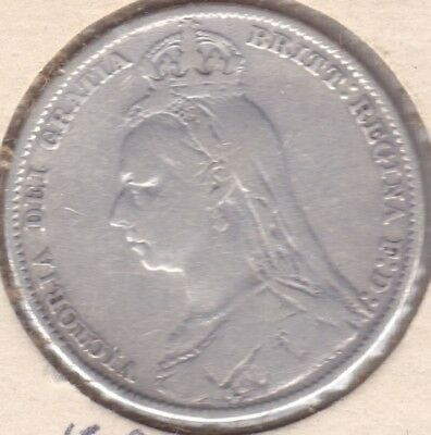 Great Britain 1891 Shilling - 0.9250 silver in VG+ condition