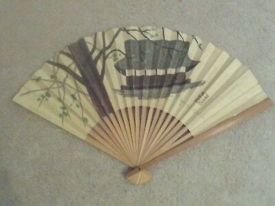 Vintage Japanese Bamboo & Print Paper Folding Fan Signed By Artist