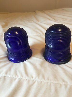 Vintage cobalt blue airport runway light globe