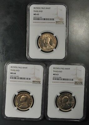 Be2505 (1962) Ngc Ms65, Ms64, Ms63 Thailand Baht Lot Of (3) Coins