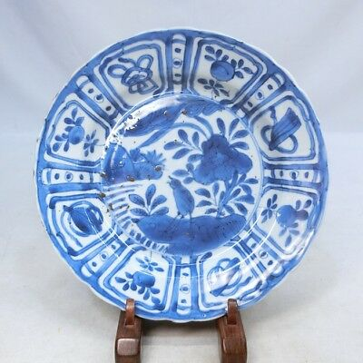 H111: Chinese old fine blue-and-white porcelain plate of popular KOSOMETSUKE.