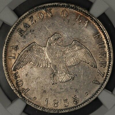 1855-So NGC AU CHILE 50 CENTAVOS (LIGHT ENV. DAMAGE)