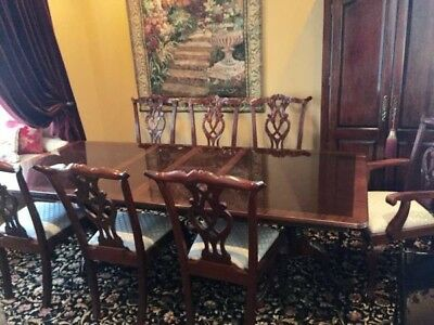 MAHOGANY Chippendale Ball & Claw Dining Room Set- Inlaid Dining Table + 8 chairs