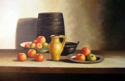 Still Life w/Fruit Apples Vintage Style Stretched 24X36 Oil On Canvas Painting