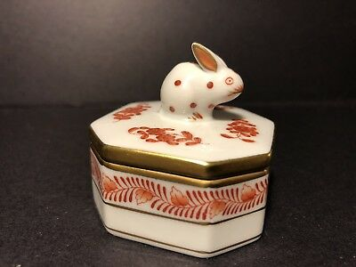 Beautiful Trinket Box Porcelain Octagonal Herend Hungarian Rabbit Lid 6020 Rust