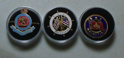 Vintage Cunard Line RMS Mauretania Souvenir Captains Wheel Metal Pin-3 Varieties